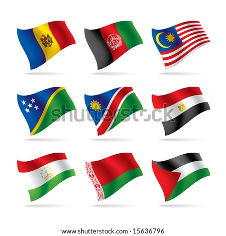 Isolated raster version of vector set of world flags 6 (contain the Clipping Path of all objects)