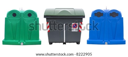 Isolated recycle bins for glass, plastic and waste