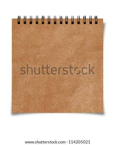 Isolated recycle paper note book on white background