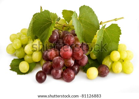isolated red and green grape