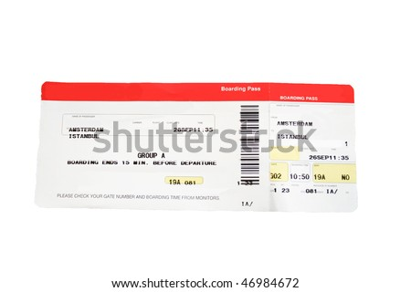 Isolated red and white boarding pass. Names and airline removed.