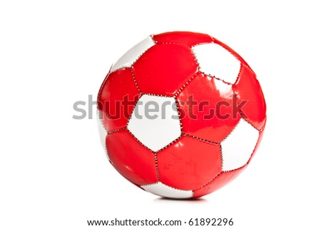 Isolated red and white football ball
