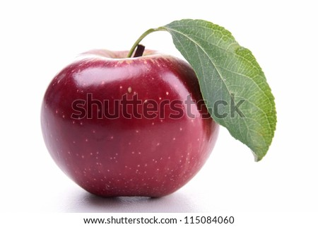 isolated red apple and leaf