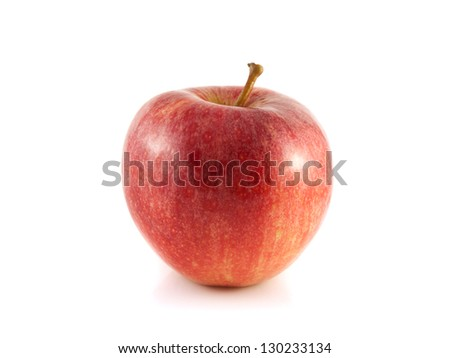 Isolated red apple on a white background. Fresh diet fruit. Healthy fruit with vitamins.