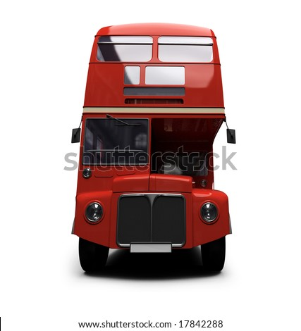 isolated red autobus on white background