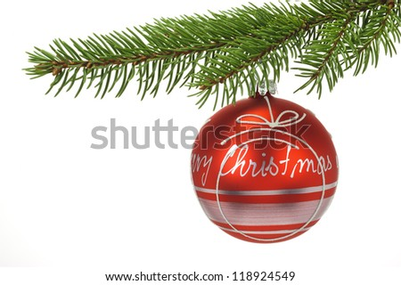 isolated red christmas ball on fir branch over white background
