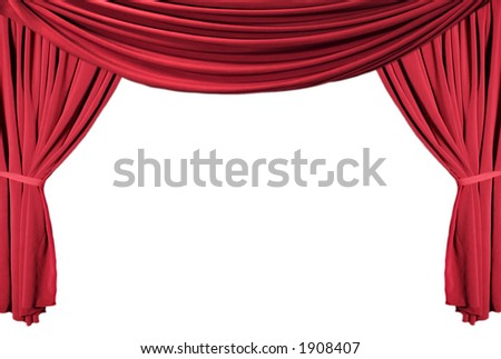 Isolated Red Draped Theater Curtains Series