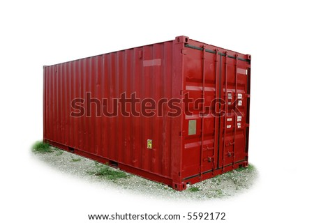 Isolated, red freight shipping container. [tare weigh kept. NAMES, SERIAL NUMBERS removed].