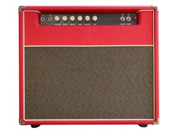 Isolated red leather and brown control panel vintage electric guitar USA style boutique amplifier on white background with clipping path. Popular amp in clean music. front view photo.
