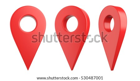 Isolated red map pointer set. 3D Illustration