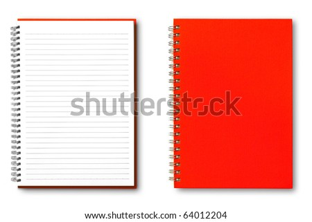 isolated red notebook on white.