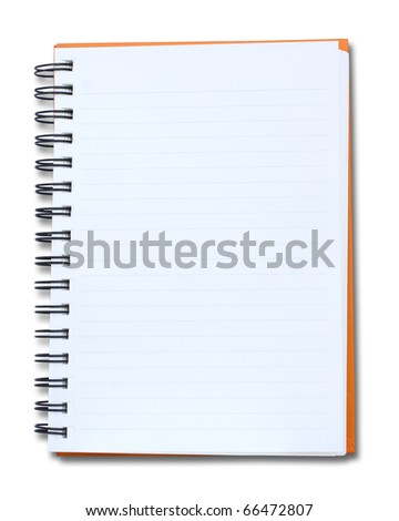 isolated red notebook on white background