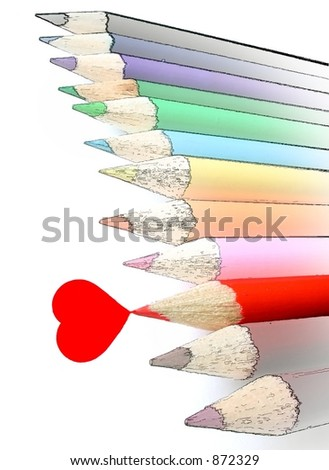 isolated red pencil crayon draws a heart while other crayons remain in hand drawn state