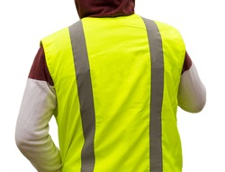 Isolated reflective vest yellow color on a road service worker