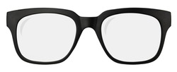 Isolated Retro Black Thick Framed Glasses On A White Background
