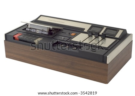 isolated retro cassette recorder on white background with path