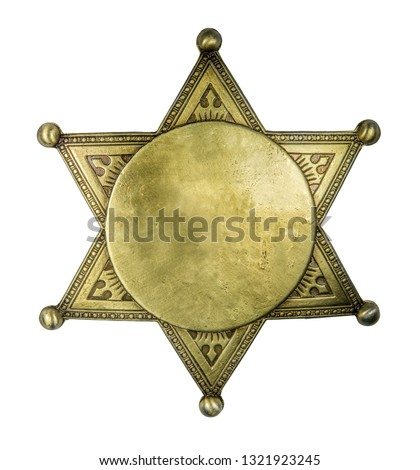 Isolated Retro Vintage Brass Sheriff Style Star Badge Blank For Your Text On A White Background Stock fotó ©