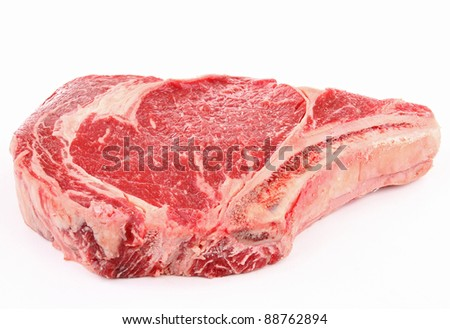 isolated rib steak on white