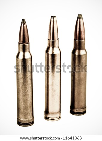 isolated rifle ammunition on white background