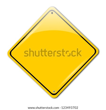 Isolated road warning sign on white background.