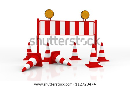 Isolated Roadblock with Cone on White Background