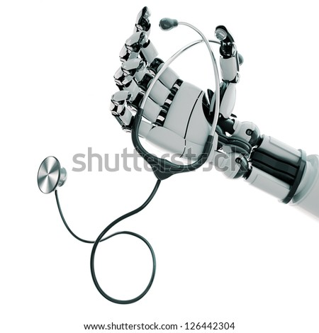 Isolated robotic arm with stethoscope on white background