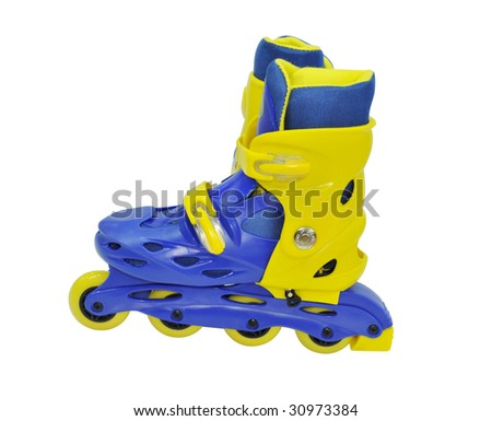 Isolated roller-skates against the white background