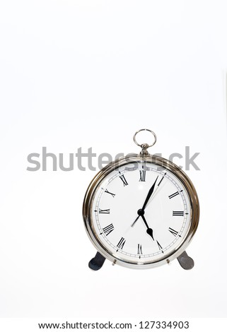 Isolated round clock with a second hand