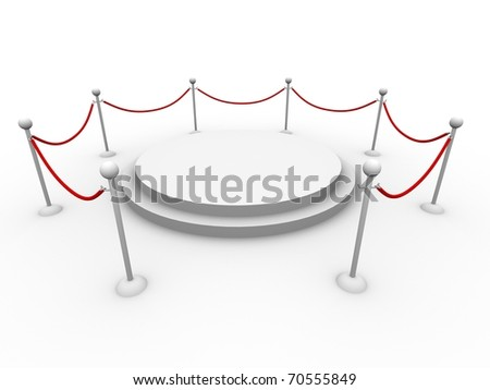Isolated round podium with barriers around it