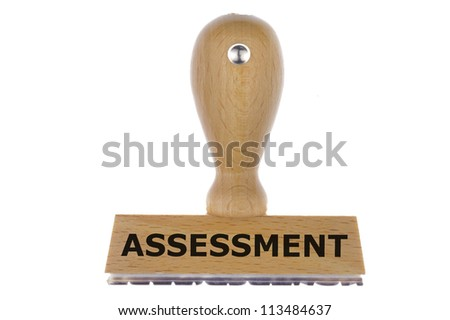 isolated rubber stamp marked with assessment