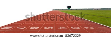 isolated Running track numbers in front of tracks - stock photo