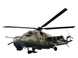 Isolated Russian military helicopter Mi-24V (Mi-35)
