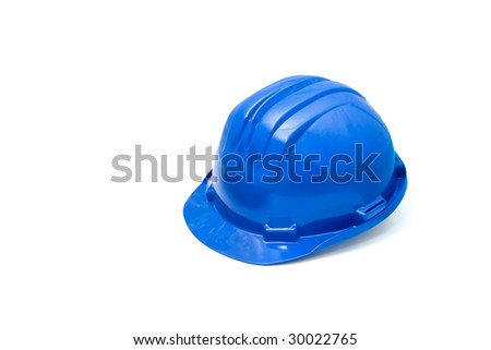 Isolated safety blue helmet for workers