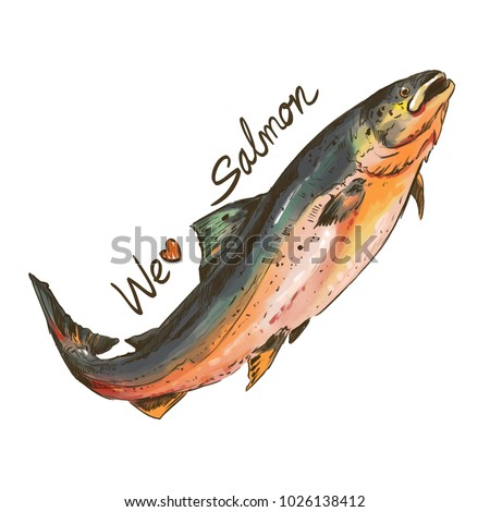 Isolated salmon painting on white background with text