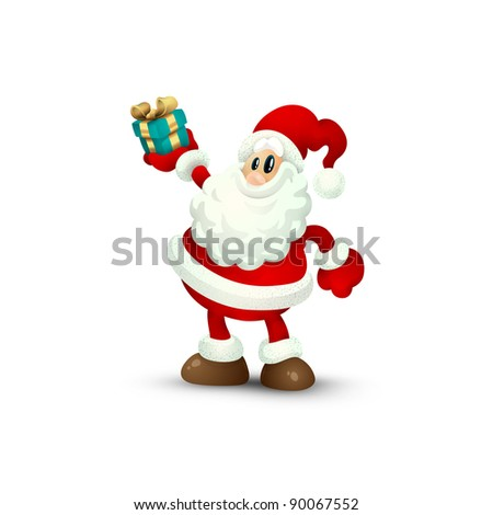 Isolated Santa Claus Holding Gift in Hand smiling to the Camera