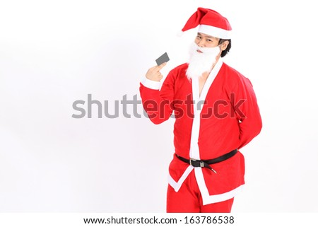 Isolated santa claus show card on overwhite background - clipping path on card