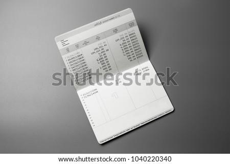 Isolated saving account passbook. bank account passbook .