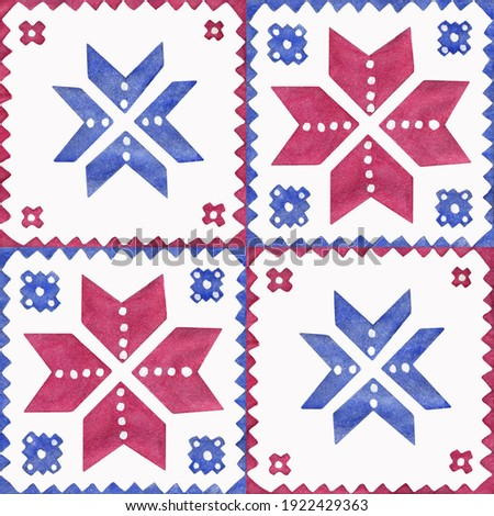 Isolated seamless pattern of ukrainian ethnic ornament painted in blue and red watercolor on white background Foto d'archivio ©