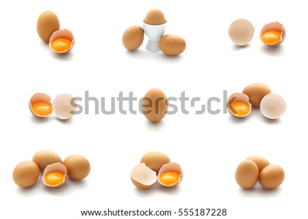 Isolated set of hen eggs and broken eggs on white background