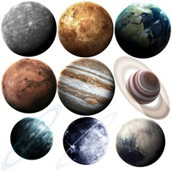 Isolated set of planets in the solar system. Elements of this image furnished by NASA
