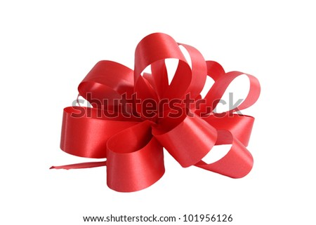 Isolated Shiny Red Bow and Ribbons on a white background. - stock photo