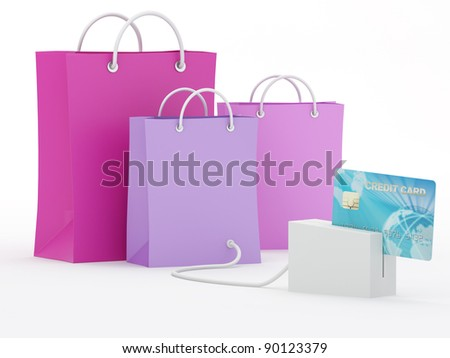 Isolated shopping bags with blue credit card - 3D Render Note: All Devices design and screen interface graphics of this picture are designed by the contributor him self.