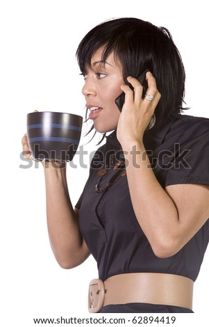 Isolated Shot of an Asian Hispanic Girl Drinking Coffee At Her Desk
