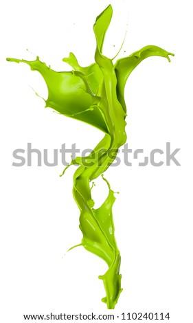 Isolated shot of green paint splash in flower shape on white background