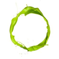 Isolated shot of green paint splash on white background