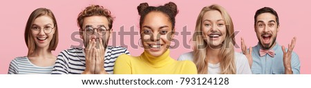 Isolated shot of multiethnic group of people express positive emotions, have pleasant smile on faces, gesture actively, being very emotional, recieve good news, pose against pink background. #793124128