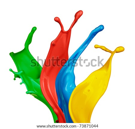 Isolated shot of paint splashing on white - stock photo