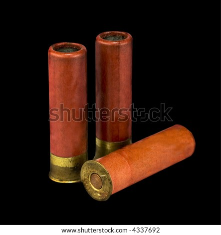 isolated shotgun shells on black  background