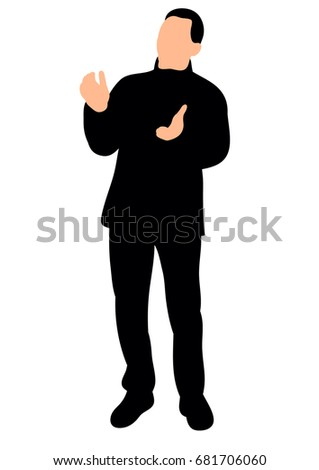 isolated, silhouette man rejoicing