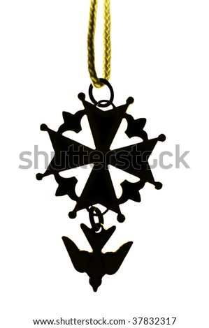 Isolated silhouette of a traditional huguenot cross pendant